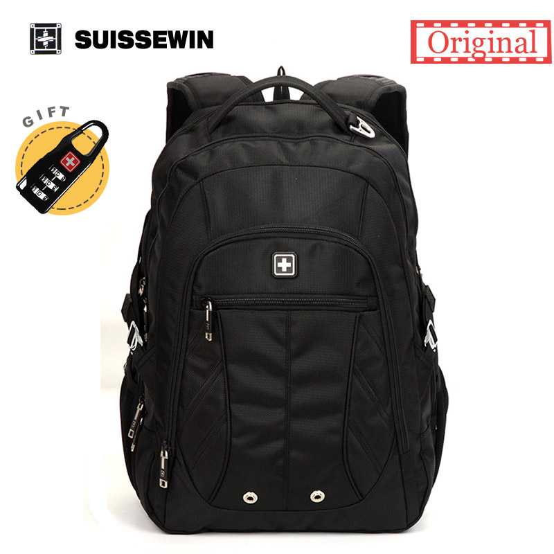 Suisswin Classic Men's Business Backpack For Travel Commuter Double Shoulder Bag for Laptop and Documents Mochila Male havresac lowepro protactic 450 aw backpack rain professional slr for two cameras bag shoulder camera bag dslr 15 inch laptop