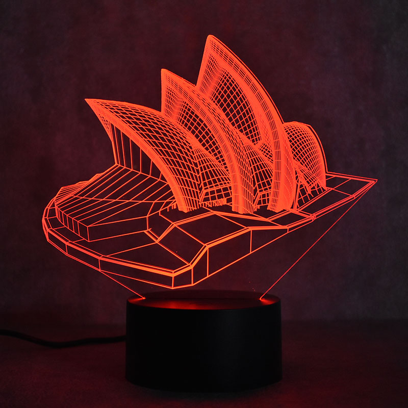 Novelty 3D LED Table Lamp Visual Sydney Colorful Light Fixture USB - Night Lights - Photo 2