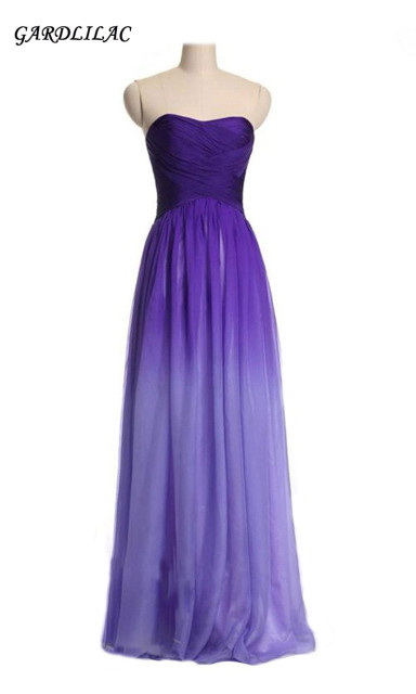 7cffc6a2d3c Real Image Ombre Purple Chiffon Bridesmaid Dresses 2018 Sweetheart Pleats  Long Prom Dress Party Gown
