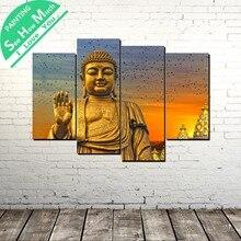 4 Шт. Будда изображение Современного Искусства Стены Холст Картины Плакаты и Принты Обрамленная