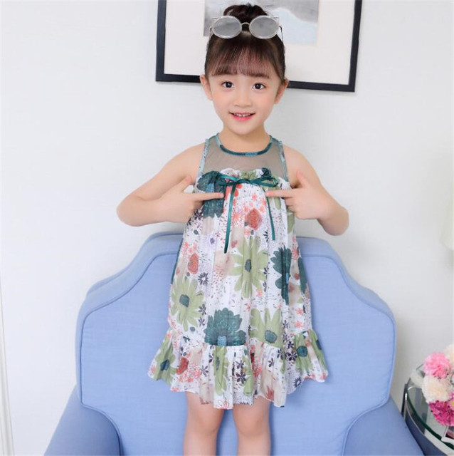 Summer Dresses Girls Print Floral Dress Children Sleeveless Mesh Bow Kids Dresses Teenage Costumes For Girls 4 6 8 10 12 Years