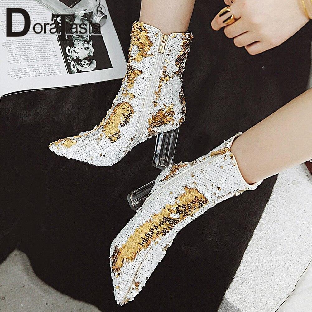 DoraTasia แฟชั่น Sequined ฝาครอบข้อเท้ารองเท้าฤดูใบไม้ร่วงฤดูหนาวรองเท้าชี้ Toe รองเท้าส้นสูงรองเท้าผู้หญิงรองเท้า-ใน รองเท้าบูทหุ้มข้อ จาก รองเท้า บน   1
