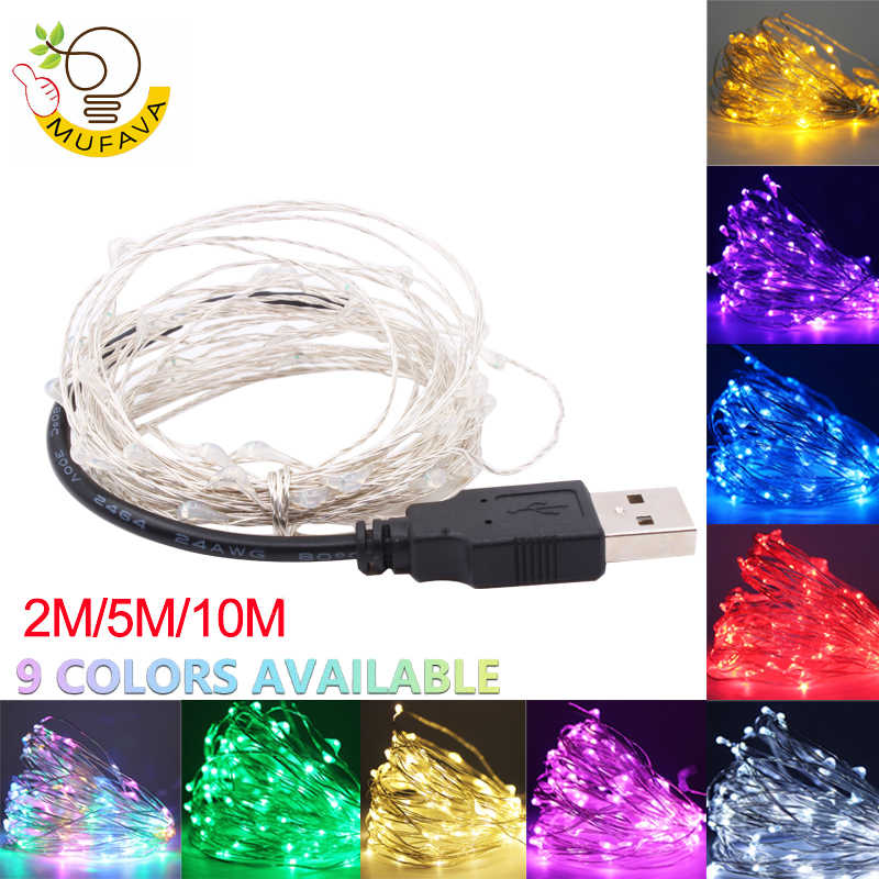 2M 5M 10M Led Lights Chain Copper Wire USB Or Battery Powered led String light Fairy Light For Christmas Lights Wedding Party
