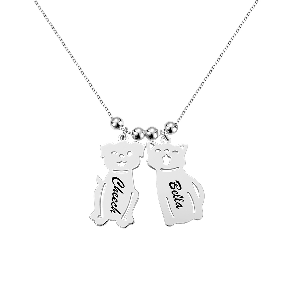 AILIN Customized Engraved Name Date Baby Boy Girl Dog Cat Necklace Beads Charm Chain For Women Child Birthday Family Gift in Pendant Necklaces from Jewelry Accessories