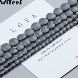 WLYeeS матовая плоские круглые разверните плоские бусины черный Кровавик; натуральный камень 4/6/8/10 мм Spacer Свободные ювелирный бисерный
