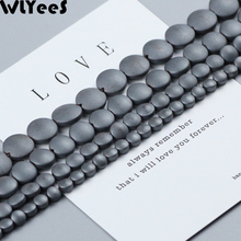 WLYeeS Matte Flat Round expand Coin beads Black Hematite Natural Stone 4/6/8/10mm Spacer Loose Beads Jewelry Bracelet Making DIY