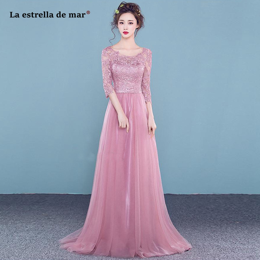 wedding guest   dress   2019 new lace Scoop neck 3/4 sleeve A Line blush pink burgundy silver   bridesmaid     dresses   long cheap