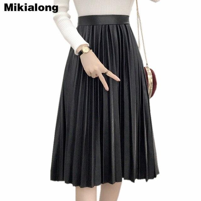 Mikialong 2017 зимние теплые длинные плиссированные кожаная юбка Для женщин высота талии черные юбки миди Винтаж Faldas Saia feminina