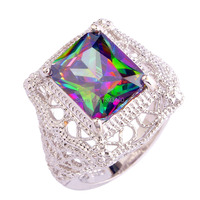 2015 Women Mysterious Rainbow Topaz 925 Silver Ring Size 6 7 8 9 10 11 New Fashion Jewelry Gift Wholesale Free Shipping