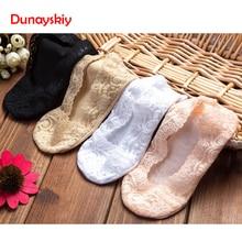 5 Pairs / Lot Fashion Women Girl Silica Gel Lace Boat Socks Invisible Cotton Sole Non-slip Antiskid Slippers Anti-Slip Sock
