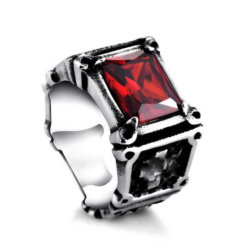 2018 New Men Stainless Steel Cross Black Red Zircon Rings Women Punk Rings Finger Jewelry Wholesale