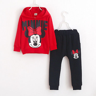 2pcs Baby Girls Kids Minnie Mouse Clothes Set Long Sleeve Hooded Coat Pants Oufits Clothes Set 2-7y #4