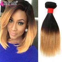 SAY ME Brazilian Straight Hair Bundles Ombre Human Hair Weave Bundles Two Tone 1B/27 10Inch Short Honey Blonde Remy Extensions