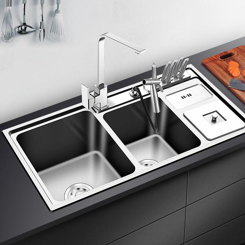 304 réservoir en acier inoxydable trois fentes avec la poubelle multi-fonctionnelle évier de cuisine épaississement repas à deux rainures avec bol de robinet