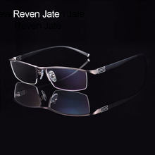 Reven Jate Titanium Alloy Front Rim Eyeglasses frame with Flexible Temple Arms Semi-Rimless Glasses Frame with 3 Optional Colors(China)