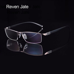 Image 1 - Reven Jate Titanium Alloy Front Rim Eyeglasses frame with Flexible Temple Arms Semi Rimless Glasses Frame with 3 Optional Colors