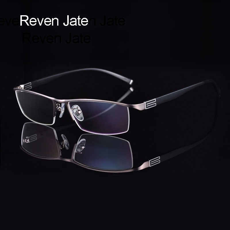 Reven Jate Titanium Alloy Front Rim Eyeglasses frame with Flexible Temple Arms Semi-Rimless Glasses Frame with 3 Optional Colors