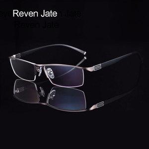 Image 1 - 유연한 템플 암이있는 reven jate 티타늄 합금 프론트 림 안경 프레임 3 가지 옵션 색상의 반 무테 안경 프레임