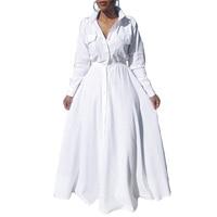 High Grade Female Rock Long Vestido Blanco Elegant Long Sleeve White Ball Gown Elastic Waist Maxi Shirt Dress Vintage 2017 Fall