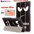 Tab3 8 plus cubierta del tirón para el lenovo tab3 8 8703f plus/p8 tb-8703f tablet case cáscara de la cubierta de cuero de la pu case + regalo