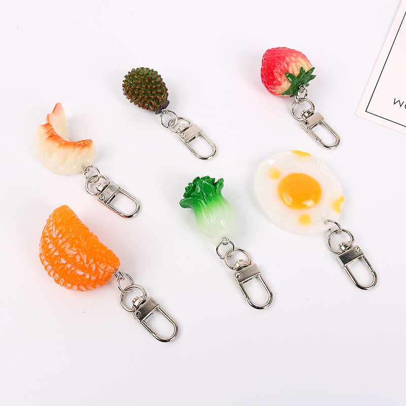 2019 New Popular Fruit Vegetable Keychain Stawberry Durian Cabbage Dumpling Eggs Keyring For Gifts Food Key Chains Hot