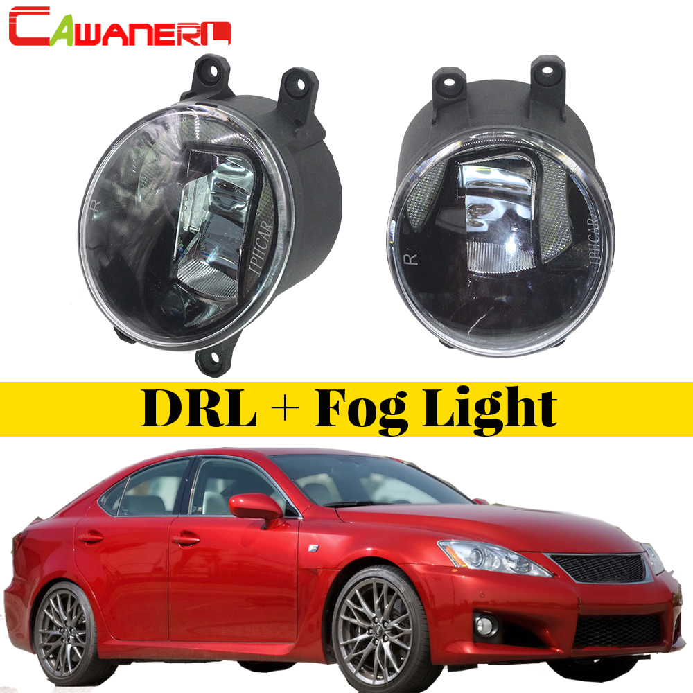 Cawanerl 2 Pieces Car Accessories LED Fog Light Daytime Running Lamp DRL White High Bright 12V For Lexus IS-F ISF 2008-2013 cawanerl for honda insight 2010 2014 car accessories 2in1 led fog light drl daytime running lamp white 5000k 12v 2 pieces