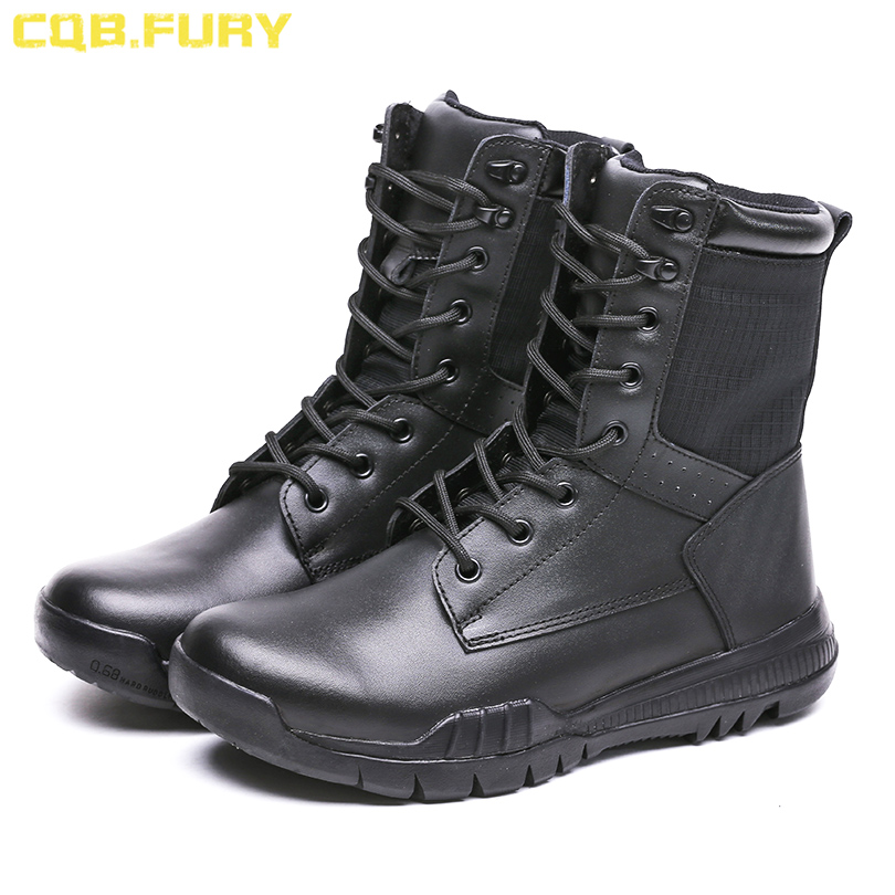 CQB FURY Tactical Mens Black Army Boots Ankle Strap lace up Combat Military Boots Wearable and