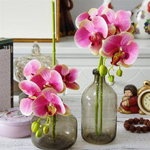 10pcs Latex Moth Orchids Phalaenopsis Orchid Real Touch five heads Mini Orchid Flower Quality Decorative Artificial Flowers(China)