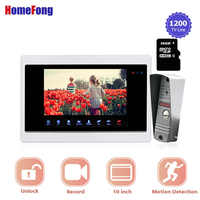 Homefong 10 inch Video Door Phone Home Intercom Doorbell with Camera Call Panel Motion Recording Metal SD Card