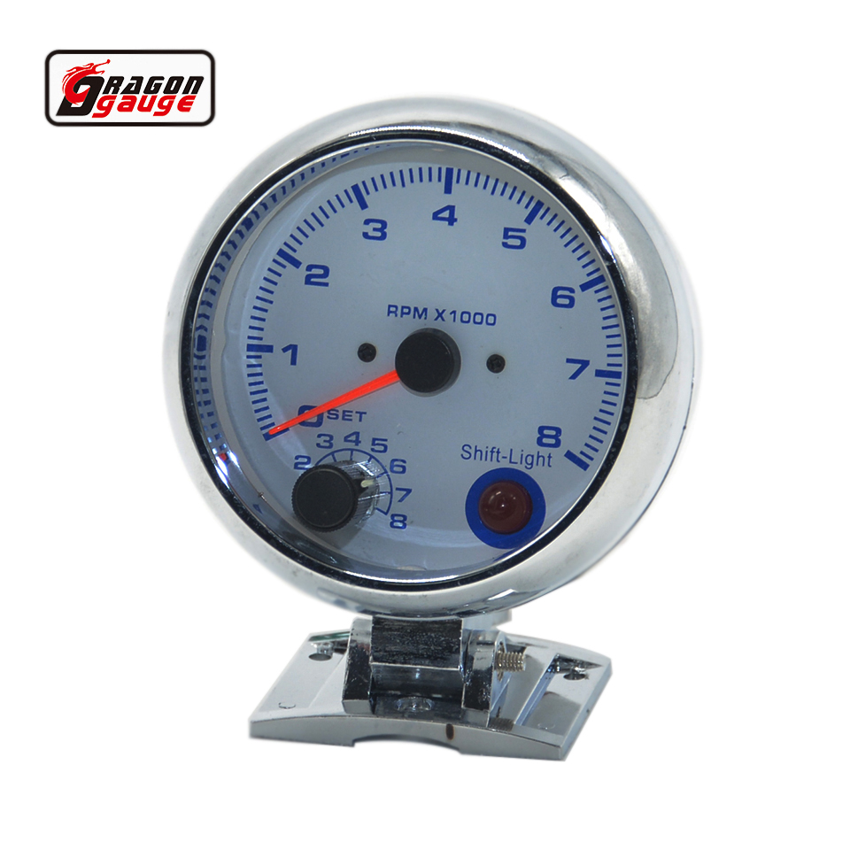 dragon gauge 3 75 95mm chrome shell white backlight blue digital auto tachometer gauge rpm mete racing refit free shipping [ 960 x 960 Pixel ]