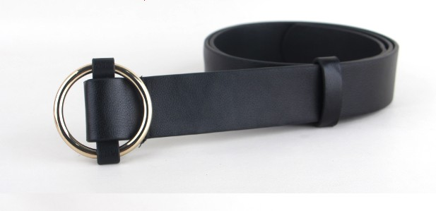 Newest Gold Round buckle belts female HOT leisure jeans wild belt without pin metal buckle brown leather black strap belt women 7
