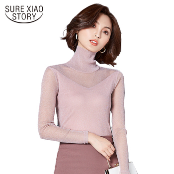 2019 Female Long Sleeve Sexy Women Blouse Tops Spring New Fashion Solid Color Turtleneck Elegant Slim Plus Size Blusas 562C 30 Top