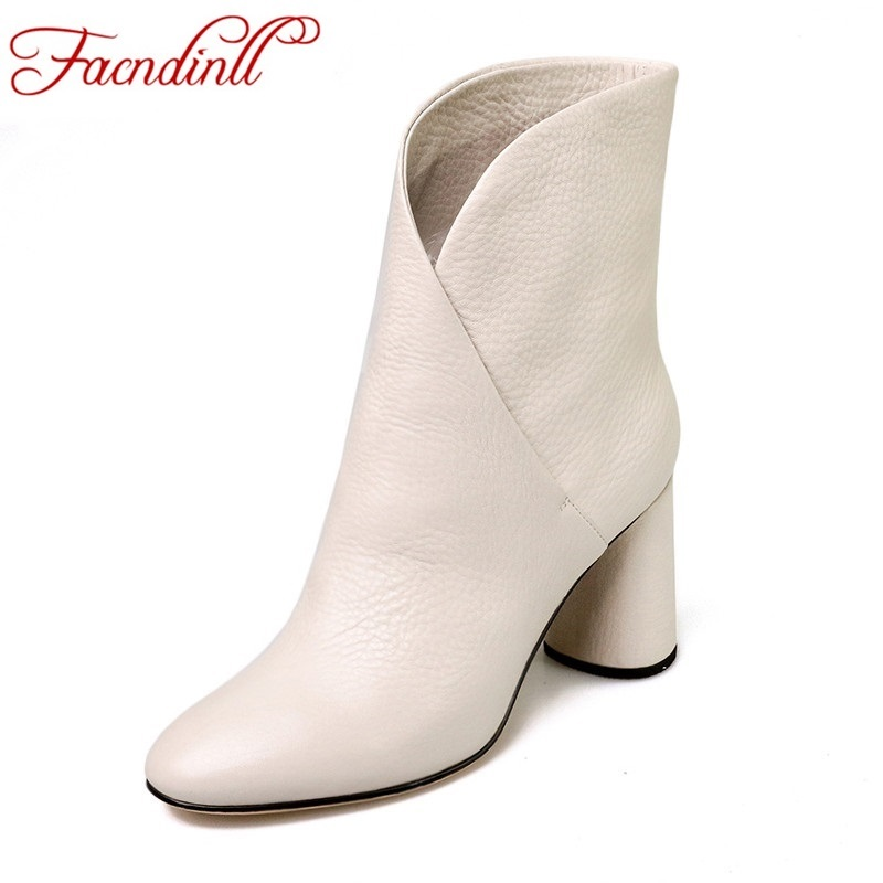 FACNDINLL autumn winter short boots fashion high heel round toe sexy women genuine leather ankle boots shoes woman riding boots 4 colors round toe charm high heel genuine leather platform martin ankle boots fashion western high quality short womne boots