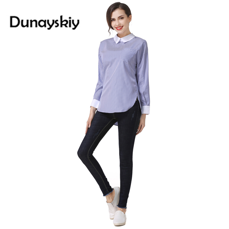 Sexy Back Bandage tight Long Sleeves Women Blouse Shirts blue Stripe Slim Hollow Out Casual Female Patchwork Turn-down Collar