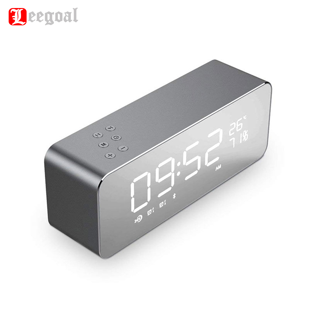Leegoal S1 Desktop Bluetooth Clock Speaker Super Bass Stereo with LED Display Digital Alarm Clock Support TF card AUX FM Radio цена