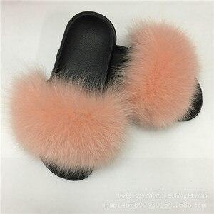 Image 5 - חורף נשים של מקורה פלאפי רך שועל פרווה Pompoms כפכפים פרוותי אמיתי פרווה בית גולשים קטיפה דירות גבירותיי נעליים יומיומיות זאפאטו