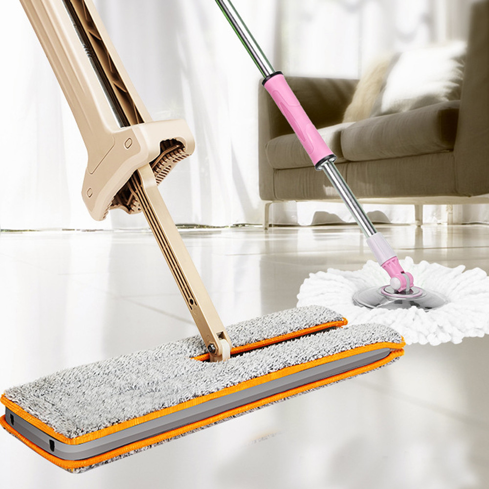 ISHOWTIENDA Double Sided Non Hand Washing Flat Mop <font><b>Wooden</b></font> Floor Mop Dust Push Mop Cleaning Tool 1pc Telescopic Mop+2Pc Mop Cloth
