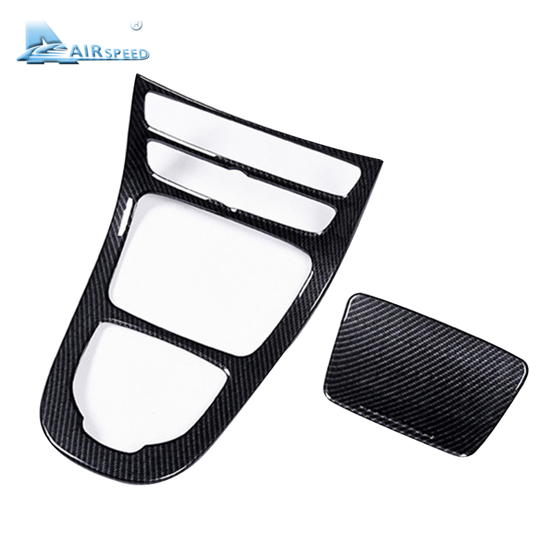 Airspeed 2PCS ABS Carbon Fiber Style Car Console Gear Panel Cover Frame Trim for Mercedes Benz E Class W213 2016 2017Car-styling car center console panel decoration cover trim carbon fiber car styling 2pcs for mercedes benz new e class w213 200 300 2016 17