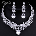 Minmin Big Crystal Silver Plated Angel Wings Wedding Jewelry Sets Charming Necklace and Earrings TL006