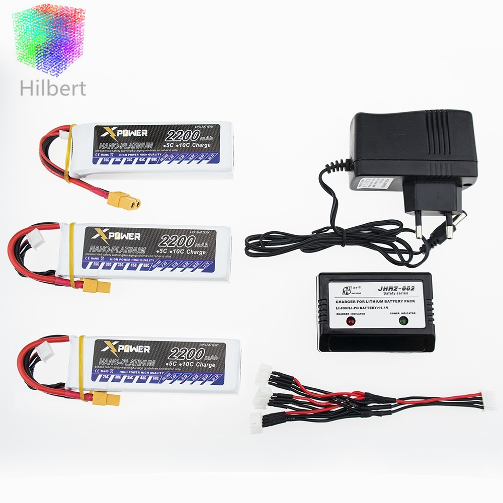 ФОТО Hilbert 3pcs 2200Mah 11.1V 3S 30C Li-po Battery XT60 T Plug with charger For RC Helicopter Qudcopter Drone Truck Car CX-20