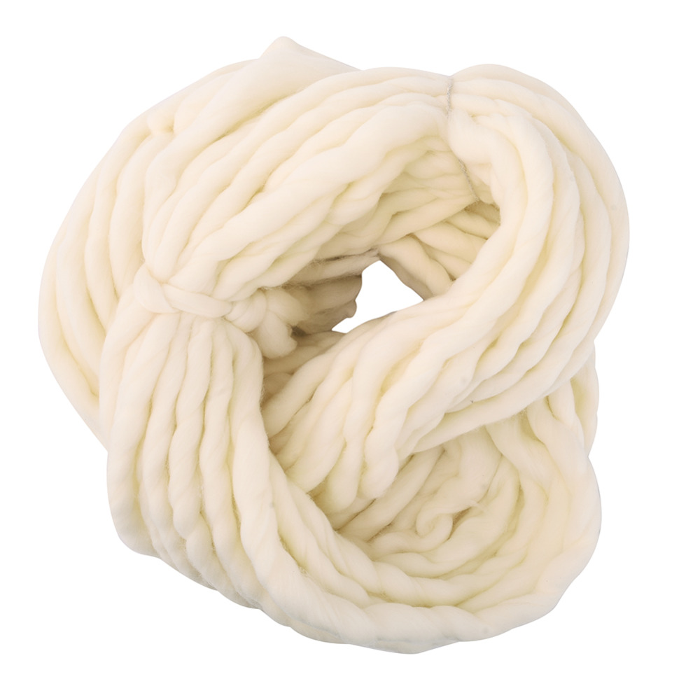 New 20 Colors Soft Wool Roving Bulky Thick Big Yarn Spinning Hand