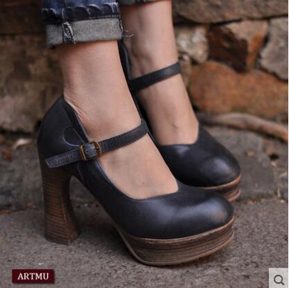 Artmu Fashion Women Pumps Shoes Handmade Leather Pumps High Heels Genuine Leather Business Shoes Lady Comfortable Buckle Pump