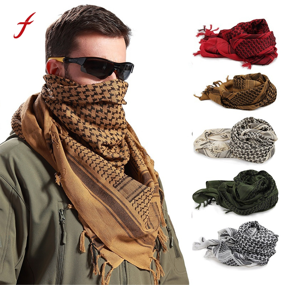 100% Cotton Arab Keffiyeh Shemagh Scarf Military Tactical Scarves Thickened Hijab Square Windproof Bandanas 2016 Camping Scarf Men's Scarves