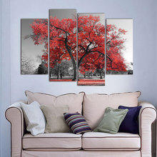 Photo Wall Modular Pictures For Living Room Decorative 4 Panel/Pcs Red Tree Landscape Abstract Frame HD Poster Canvas Painting