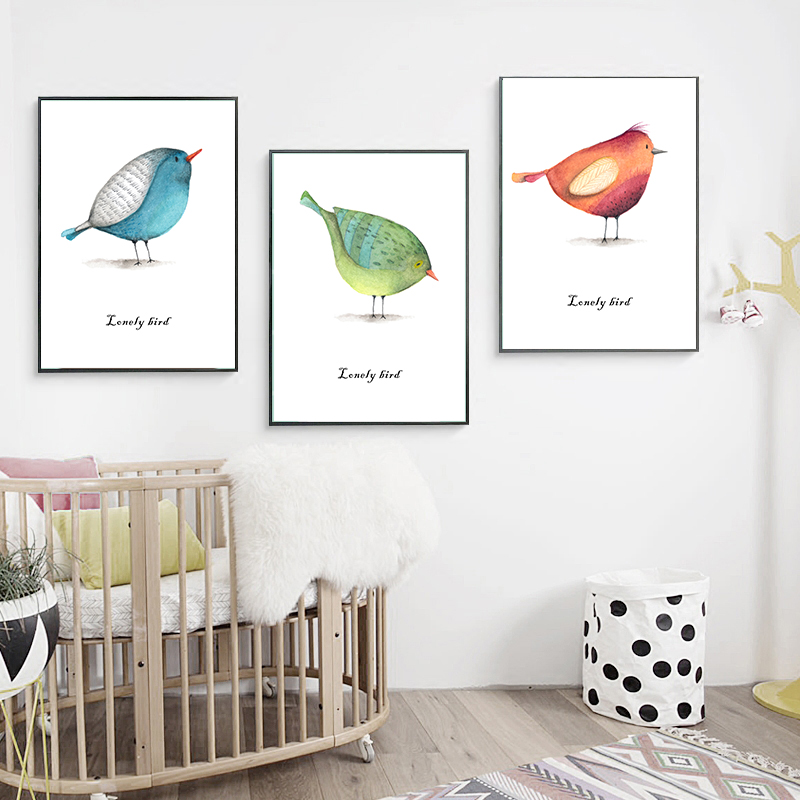 Cizgi filmi tək quş heyvanı Minimalist sənət kətan afişası - Ev dekoru - Fotoqrafiya 1