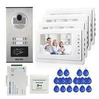 Apartment 7 Color Video Door Phone Intercom System 4 White Monitor Waterproof RFID Access Door Camera
