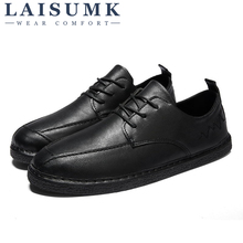 2019 LAISUMK Men Shoes New Leather Autumn Sneakers Footwear Slip on Rubber Driving Fashion Flats