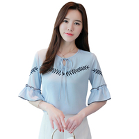 חמוד חדש קיץ נשים חולצות ראפלס אבוקה שיפון רקמת שרוול קצר חולצה חולצה סופר Qing קטן בסגנון מערבי