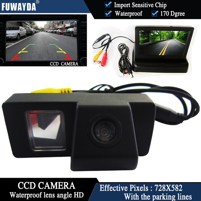 FUWAYDA Color CCD Car Rear View Camera for TOYOTA LAND CRUISER 200 LC200 / Toyota REIZ 2009 + 4.3 Inch foldable LCD Monitor HD