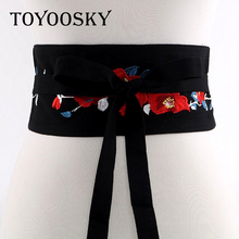 2018 New Arrival Harajuku Luxury Flower Printed Women Wide Belt Fabric belt girdle skinny for women TOYOOSKY